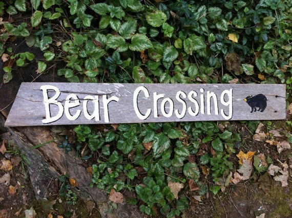 Bear Crossing sign hand painted salvaged barn wood