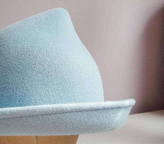 Fleur Delacour Beauxbatons Inspired Velour Fur Felt Hat CUSTOM costume light blue Halloween