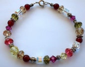 Bracelet Swarovski Crystals Multi-Color w Carnelian Gemstones