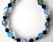 Bracelet Sapphire BlueTopaz Erdite IndiaBlue Swarovski Crystals