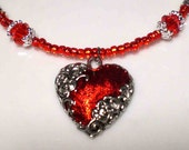 Valentine Heart Necklace with Sterling Filigree