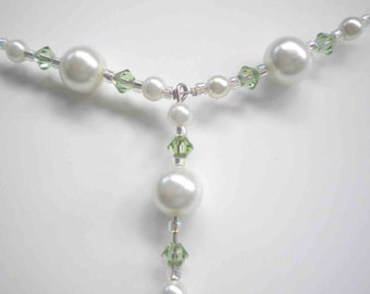 Swarovski Pearl Necklace Wedding w Peridot Swarovski Crystals Beaded Necklace