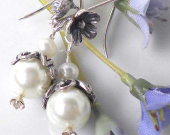 Swarovski Pearl Earrings Wedding White Swarovski Pearls w Sterling Silver Flower Hooks