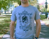 Le QMO - Mens Medium Tee (Athletic Blue with Navy Print)