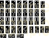 Altered DOMINO Alphabet Letters and Numbers Charm SIze Digital Collage Sheet