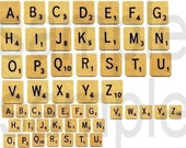 Scrabble Word Game Alphabet Letters Digital Collage Sheet