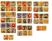 Vintage Childrens ABC Alphabet Toy Letter Blocks in 1 inch size Digital Collage Sheet