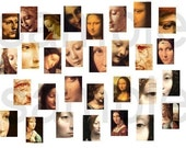 Faces of Da Vinci....1 x 1.5 Inch Charm sizes ....One in Color... One in Browns 2  Digital Collage Sheets