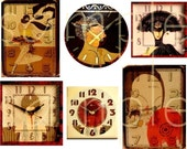 Vintage Altered Art Deco Clock Faces Digital Collage Sheet