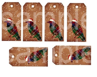 Christmas Snow Crow Grungy Tags...2x4 inches each....Digital Collage Sheet