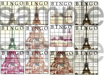 ALtered PARIS Bingo Blank Cards Digital Collage Sheet
