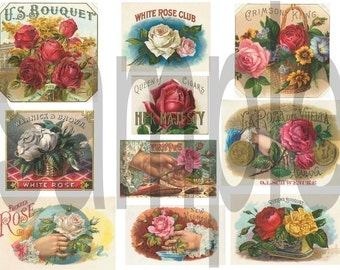 Victorian ROSES...Cigar Labels...Gorgeous.... Digital Collage Sheet