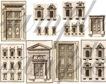 Antique 18th Century Architecture Elements Doors and Windows Digital Collage Sheet
