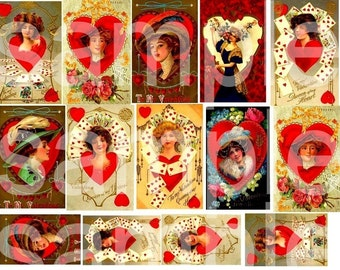 Vintage Valentines...Ladies in RED.....Ravishing Digital Collage Sheet