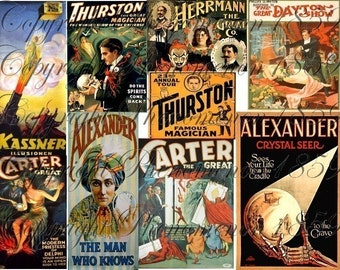 Vintage MAGIC Posters ILLUSIONISTS Sheet 2 Digital Collage Sheet