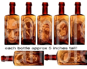Retro Monsters We Know and LOVE...Pickled in Bottles  .... 2 sizes.... on 2 Digital Collage Sheets