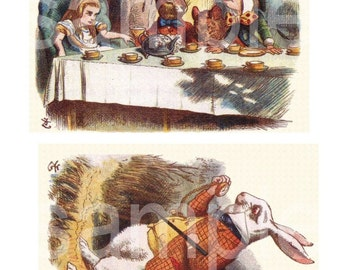 Vintage Tenniel ALICE in WONDERLAND 2 5x7s Tea Party and White Rabbit You Print  Digital Collage Sheet