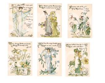19th C Art Nouveau Flower Spirits  Walter Crane  ATC ACEO SIze Digital Collage Sheet
