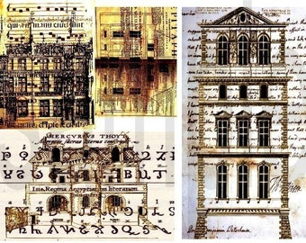 Vintage Altered Houses Architecture Digital Collage Sheet