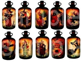 Altered Witch's Brew...in Antique Rx Bottles...Halloween Witches...10 in All..a bit under 2x4inches..Digital Collage Sheet