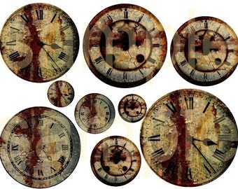 Vintage ALtered Rusty GRUNGY Clocks 2 DIgital Collage sheets BUNDLE