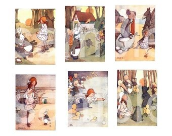 1921 Alice in Wonderland  Adorable    Pastels ATC ACEO SIZED on 2 Digital Collage Sheets