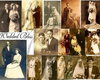 Vintage WEDDING Photographs  2 Digital Collage Sheets