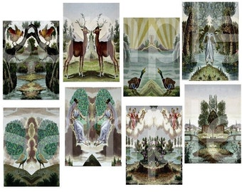 Vintage French Fables...Altered for ATC ACEO Size ...Backgrounds... Digital Collage Sheet