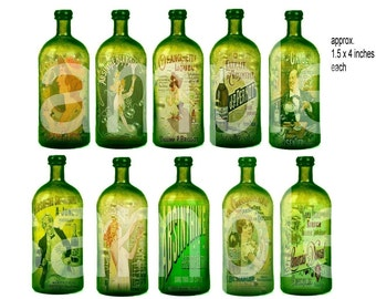 Altered Antique ABSINTHE Bottles with Bubbles OOAK 1.5 x 4 inches each  Digital Collage Sheet