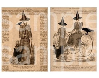 WITCHES...19th Century Altered Delineator Fashion Page Witch..with crows...5 x 7 and ATC sized ...on 3 Digital Collage Sheets