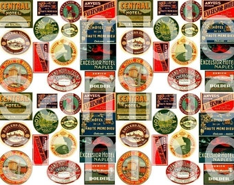 56 Vintage Hotel Travel Labels Charm Sizes Digital Collage Sheet