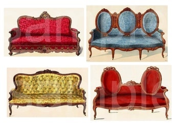 Vintage French Sofas Couches LoveSeats GORGEOUS  Digital Collage Sheet