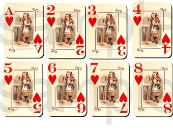 Vintage 1920s Tenniel ALICE in WONDERLAND... Altered Playing Cards...HEARTS Suit...2 Digital Collage Sheets