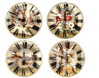 Vintage Tenniel ALICE in WONDERLAND Altered Clock Faces  4 in 3 in 2 in and 1 inch on 2 Digital Collage Sheets