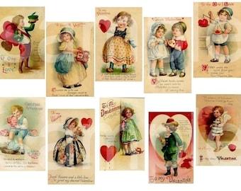 Vintage Chubby Cheeked Valentine Children...2  Digital Collage Sheets