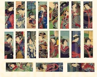 Vintage Japanese Geisha...JewelTones..... 1x3inch Micro Slide designs... Digital Collage Sheet