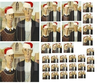 American Gothic Christmas...Altered Fine Art...4 inch..2 inch..1 inch and 3-4inch size squares...Digital Collage Sheet