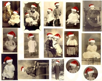 Antique Santa Children and Babies Vintage Christmas....Digital Collage Sheet