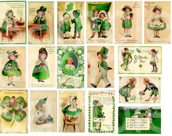 Vintage St. Patricks Day Children...Adorable...Digital Collage Sheet