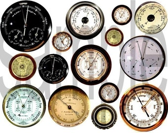 Vintage BAROMETER Faces Digital Collage Sheet