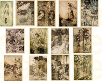 Vintage Alice in Wonderland...Arthur Rackham Illustrations... Digital Collage Sheet