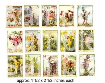Early 20th Century Flower Fairy Alphabet  ABCs  on 2 Digital Collage Sheets