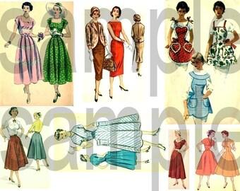 Vintage Retro 1950s Ladies Fashions Aprons Dresses  Digital Collage Sheet