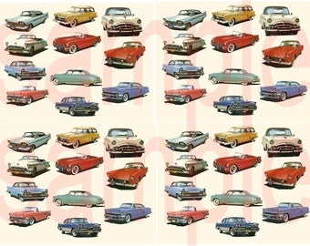 1950s CARS....50s Cars..Fifties CARS... 44 Charm Size Images for Jewelry Treasures Digital Collage Sheet