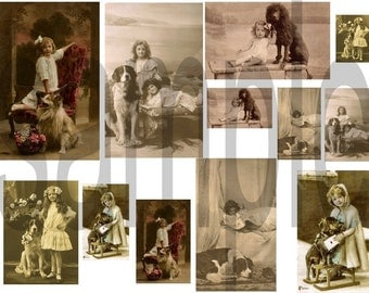 Victorian Little Girls and Their Dogs... Digital Collage Sheet