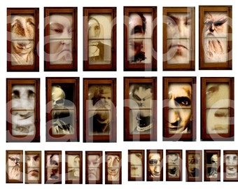 Altered Creepy Faces in an Antique Window.....Digital Collage Sheet
