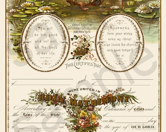Beautiful Antique 19th Century Blank Marriage Certificate  8x10 Altered Updated Biblical Christian Scripture  Digital Download You Print