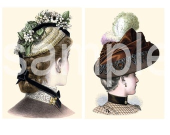 Antique Turn of the Century HAT Portraits  Most Gorgeous EVER Two 5 x 7s  You Print and Frame   Set A