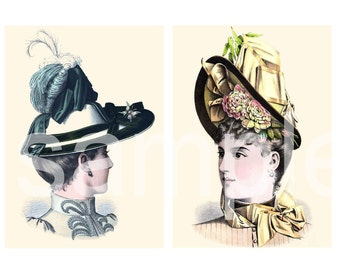 Antique Turn of the Century HAT Portraits  Most Gorgeous EVER Two 5 x 7s  You Print and Frame   Set C