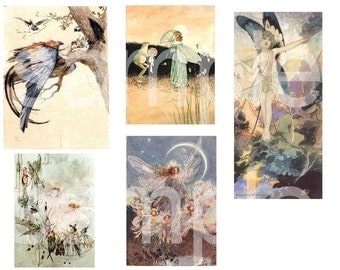 Vintage Delightful FAIRIES Illustrations Fairy  2 Digital Collage Sheets Download and Print